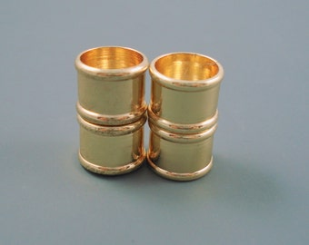Magnetic Clasp, 10MM Gold Bamboo Style Clasp for Leather or Cord, Two Bayonnet Brass End Caps (10MMBMC)