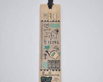 Best teacher - thank you - wooden bookmark