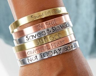 Christian Jewelry Cuff | Not Today Satan Christian Cuffs | Hand Stamped Religious Cuff | Engraved Cuffs Expressions Bracelets