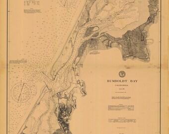 Humboldt Bay California Historical Map 1896