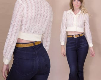 Vintage 1970s Crochet Ivory Button up, Crop Top Blouse with 70s Collar and Cuffs
