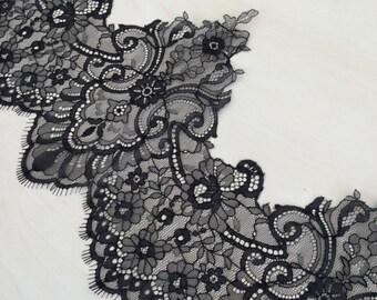 Black Lace Trim, French Lace, Chantilly Lace, Bridal Gown lace, Wedding Lace, Black Lace, Veil lace, Garter lace, Lingerie Lace MM00045