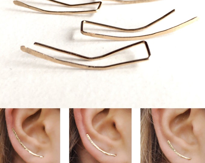 Ear Climbers, Ear Jackets, Climber Earring 14K Gold Filled, Hammered Gold