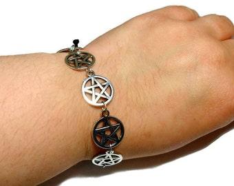 Pentacle bracelet, Black macrame bracelet with pentagram, Pagan jewelry, blessed be, pentagram charm bracelet, Crystal Energy Canada