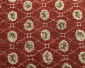 Red Tan Butterfly Fabric