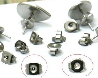 200PCS Stainless Steel Earring Backs Ear Nuts Wholesale Jewelry Findings Hypo-Allergenic Earring Stoppers