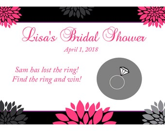 24 Personalized Bridal Shower Scratch Off Game Cards - Hallie Design  - PINK Bridal Shower Scratch Off Game - Custom Colors Available