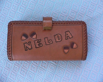 Vintage Tooled Leather Wallet with Acorns, Leaves for Nelda