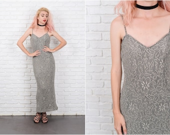 Vintage 80s Knit maxi Dress Silver Glam Floral Stretch Sweetheart XS 9729