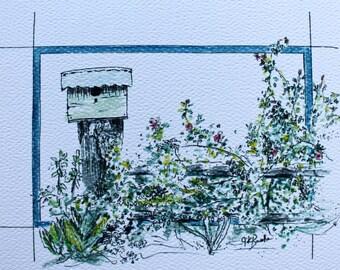 Bonnie's Birdhouses: Set of 4 greeting cards; prints of original watercolor paintings