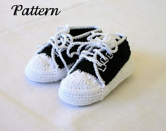 Baby sneakers PDF crochet PATTERN 0-3 month infant tennis shoes soft soled booties newborn thread crochet trainers