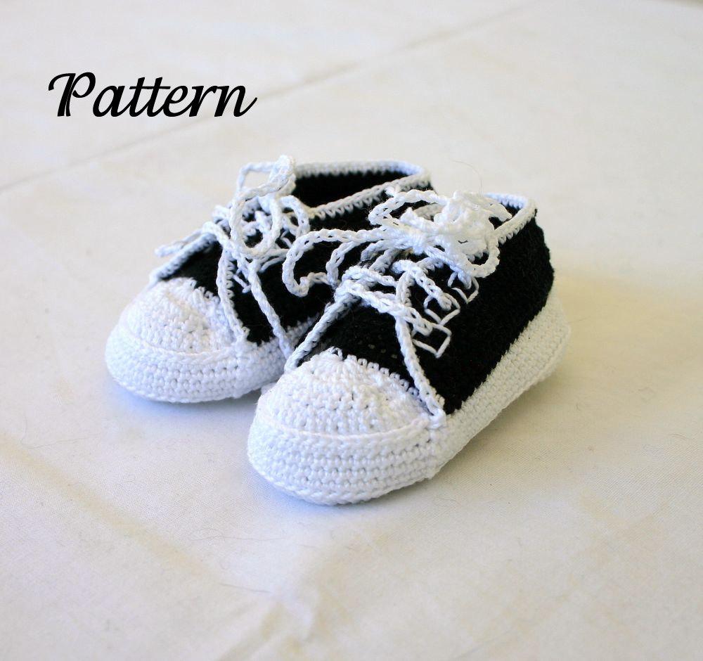 Baby sneakers PDF crochet PATTERN 0-3 month infant tennis