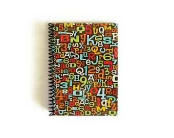Back to School Letters and Numbers Notebook A6 Spiral Bound - Writing Journal, Planner, Gifts Under 20, Blank Sketchbook, Cute, 4x6 Inches