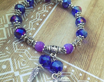 Elastic band, women bracelet, purple, silver, elephant, wing, gift, gift, boho, Crystal, agate, Bohemian, made with love