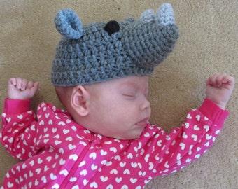 Rhino Hat PDF Crochet Pattern - Newborn to Adult INSTANT DOWNLOAD