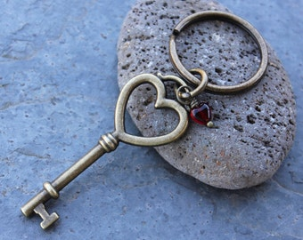 Key to my heart keychain - antiqued brass skeleton key charm with heart shaped top, red heart- love, friend, anniversary - free shipping USA