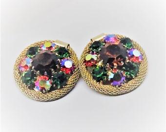 Rhinestone Earrings - Vintage, Gold Tone Mesh, Colorful Rhinestones, Clip on