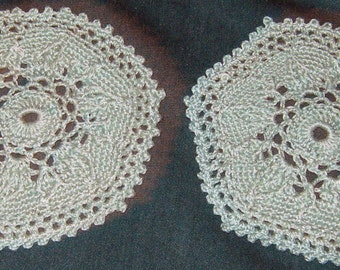 """Two small round Doilies, Pale Green, 4 1/2"""" across"""