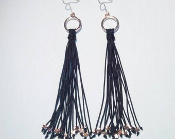 Handmade earrings with hematite.