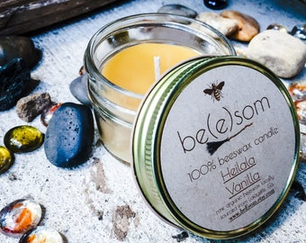 100% Pure Unscented Beeswax 3oz jar candle. Scented with Heilala Vanilla Paste from New Zealand.