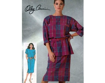 Oleg Cassini Loose-Fitting Dress or Tunic and Skirt Sewing Pattern Misses Size 10 Uncut Vintage Simplicity 7368
