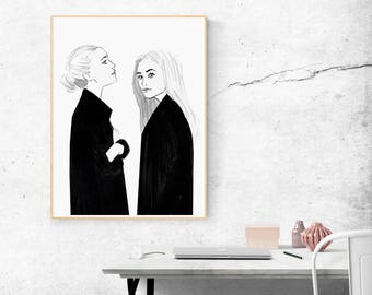 Fashion Illustration — Best Friend Gift — Sister Gift — Gift for Her — Unique BFF Gift — Soul Sister Gift — Best Friend Poster or Canvas