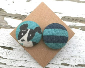 Fabric Button Post Stud Earrings - Mismatched Dog and Blue Stripes - 3/4""
