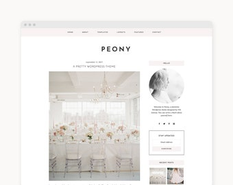 "NEW Wordpress Theme - Wordpress Fashion Theme - Genesis Theme - Stylish Blogger Theme - ""Peony"" Instant Digital Download"