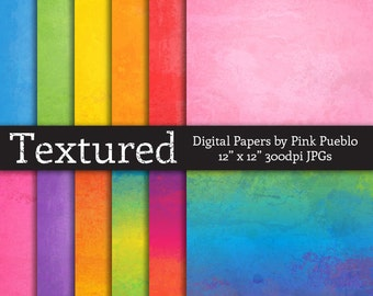 Digital Printable Papers Scrapbook Papers or Backgrounds - Watercolor Paper Textured - Commercial and Personal Use