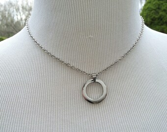 24/7 Wear Discreet Symbolic O Ring Day Collar Necklace, BDSM Submissive Collar, DDLG, Stainless Steel Petite Cable Chain Necklace