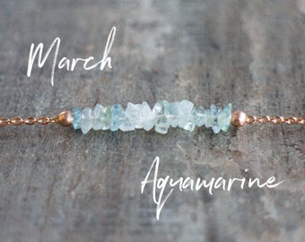 March Birthstone Necklace, Raw Aquamarine Necklace, Gift for Her, Raw Stone Jewelry, Choker, Delicate Necklace, March Birthday, Wife Gift