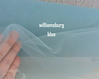 """WILLIAMSBURG BLUE  108"""" Soft Illusion Nylon Tulle by the Yard"""