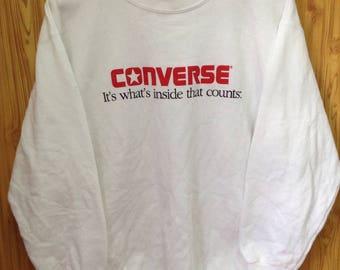 MEGA SALE !! Vtg Converse Sweatshirt Made In Usa Large Size White Colour