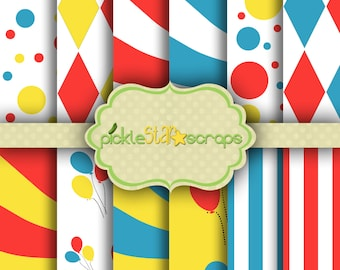 Carnival Vol1  - 12 Digital Printable Scrapbook Papers - 8.5x11inch - Patterned Bright Printable Backgrounds - INSTANT DOWNLOAD