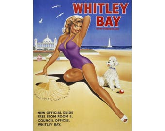 Whitley Bay, Beach Pin-up Girl Classic Advert, sea Holiday, Small Metal/Tin Sign