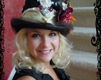 BORN A REBEL, Custom made, Embellished  Black Top Hat, Bacholerette, Costume, Birthday Girl, Bohemian, Gypsy,