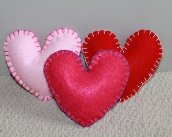 Stuffed Felt Hearts - set of 3