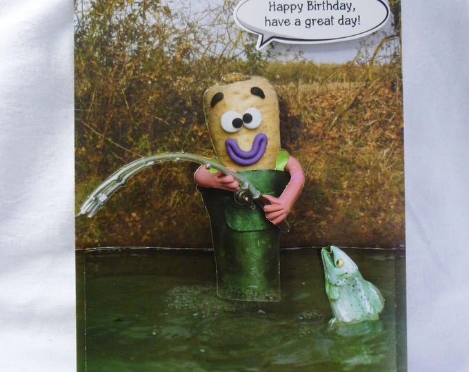 Veg Gone Fishing, Birthday Card, Greeting Card, 3D Decoupage, Parsnip Fishing, Male, Any Age, Father, Dad, Brother, Son, Nephew