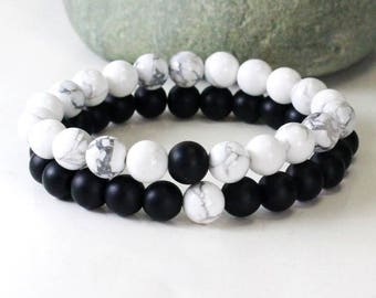 Matching Couples Bracelet , Couples Gift Set, Couple Jewelry, His and Her Bracelet, Anniversary Gift, Gift for Couple, Onyx Howlite Bracelet