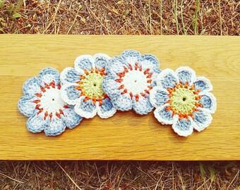 6 Enchantée Crochet Flowers- Blues
