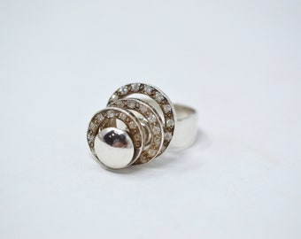 Vintage 3 Level Spinner Ring - CZ Sterling Silver - Size 6 - Cubic Zirconia - 604094699