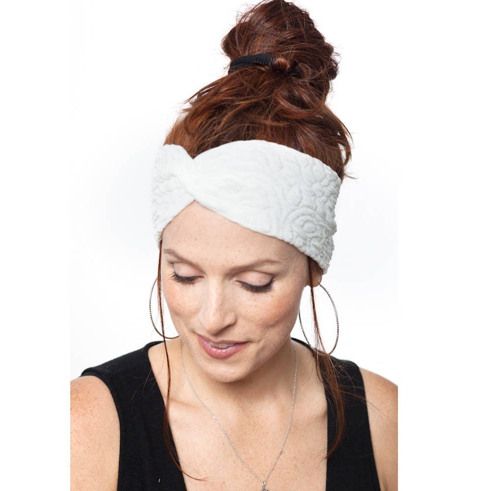 White Turban Headband Wedding Hair Piece Women Turban