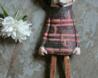 Man with moustache and hat-terracotta-terracotta figurines-striped jacket-hand made terracotta-Clay sculpture-Baby doll-DaAppendere