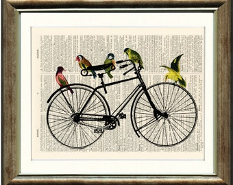 Birds on a Bicycle - Upcycled vintage book page print on a page from a late 1800s Dictionary Buy 3 get 1 FREE