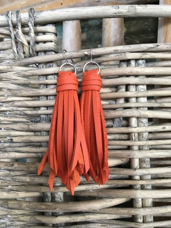 "Tassel Earrings - Long Fringe Faux Leather Tassel Earrings - Choose 2.5"" or 3.5"""