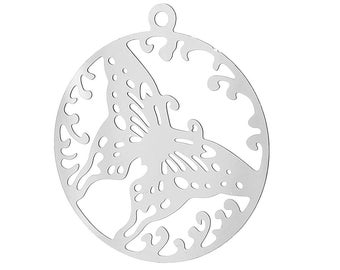 1 x print pendant 23 mm round steel butterfly.