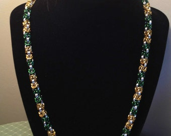 Green, Gold and Silver Chain Maille necklace