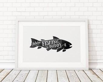 Pêche future copain / nautique pépinière nautique / impression océan Print / océan pépinière et impression de poissons et affiche de poissons moderne / Print / poisson Art mural