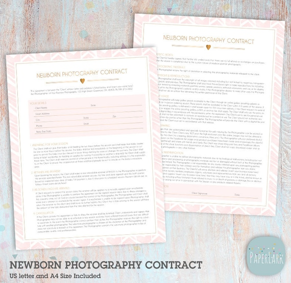 Newborn Photography Contract Template Photoshop Download