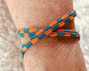 Handcrafted Embroidered Orange Double Wrap Bracelet
